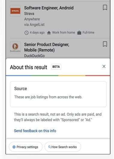 Nouveau format d'affichage Google